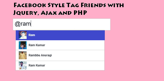 Facebook Style Tag Friends with Jquery, Ajax and PHP.