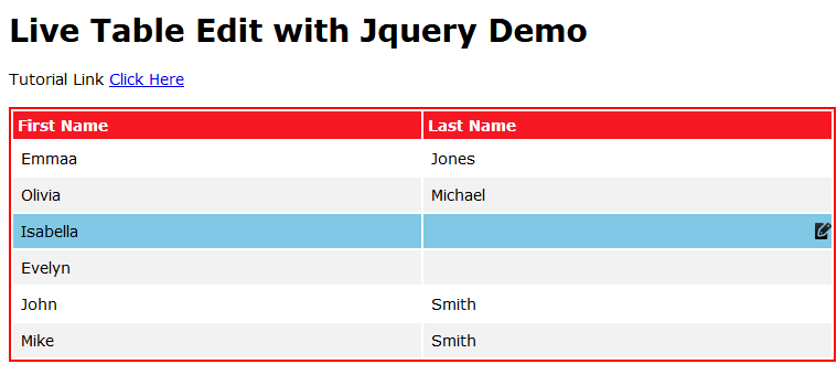 Live Table Edit with Jquery and Ajax